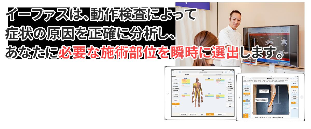 イーファスは、動作検査によって症状の原因を正確に分析し、あなたに必要な施術部位を瞬時に選出します。